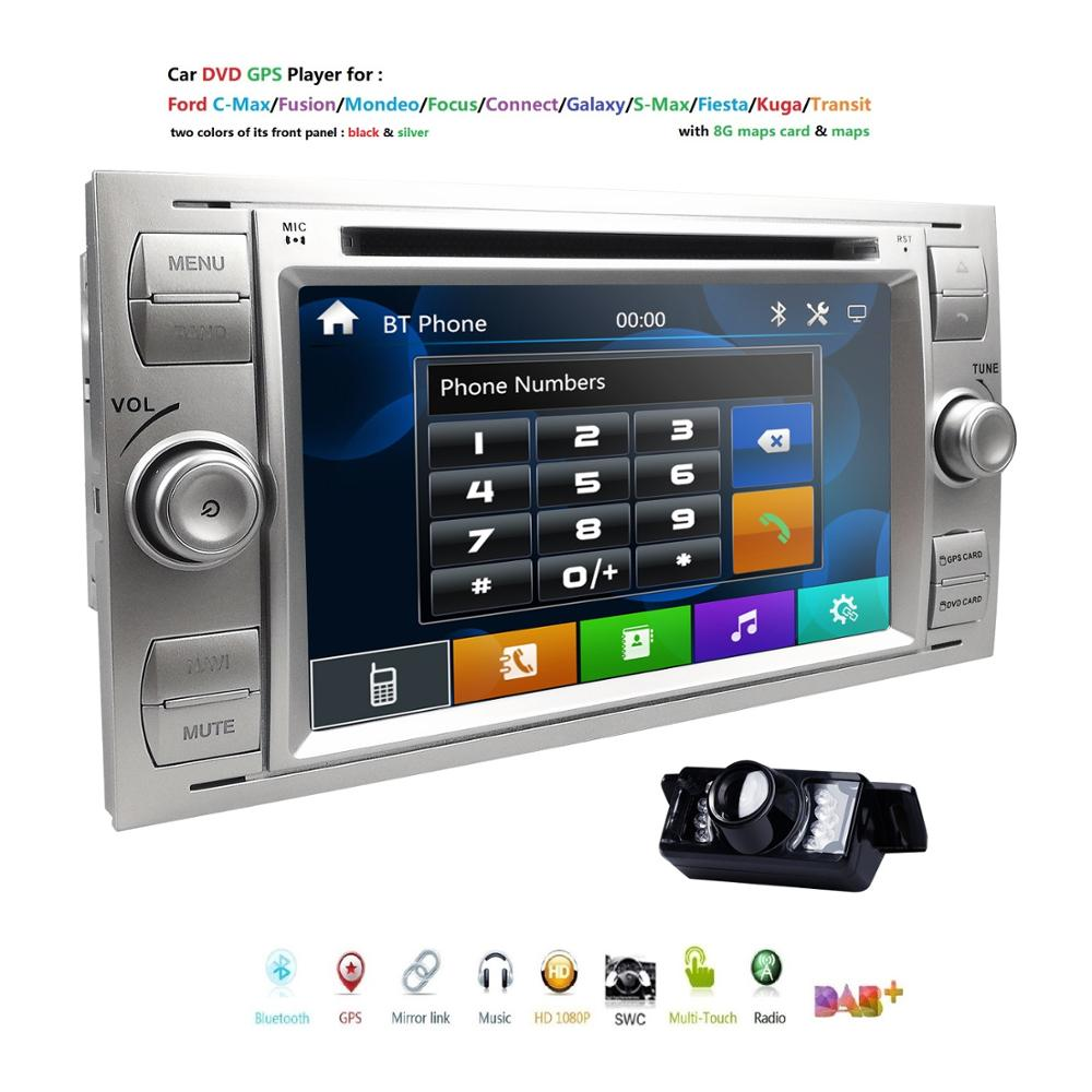 1080P Mirror link Car DVD MP5 Player For <font><b>Ford</b></font> Focus/Mondeo/Transit/<font><b>C</b></font>-<font><b>MAX</b></font>/Fiest <font><b>GPS</b></font> DVR DAB+ RDS USB BT Free Camera +8G Map card image