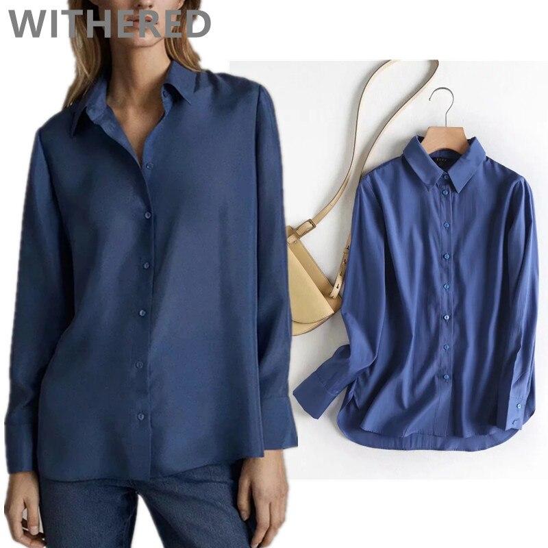 Увядшая Весенняя женская блузка в английском стиле для офиса, одноцветная синяя простая шелковая блуза mujer de moda 2020, женская рубашка, топы и б...