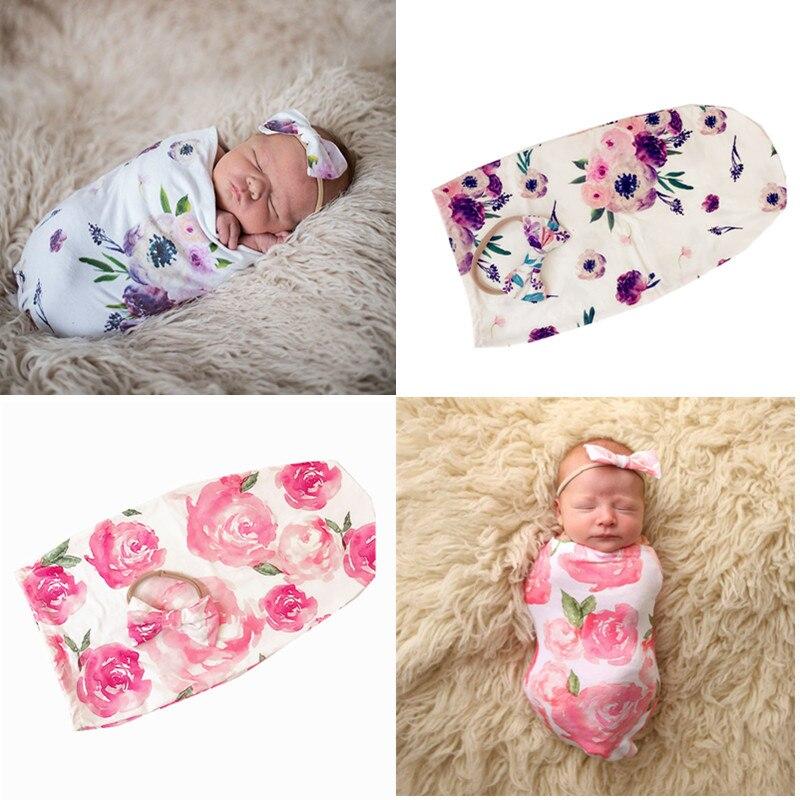 Baby Sleep Receiving Blanket and Bow Headband Set Baby Swaddle Blanket