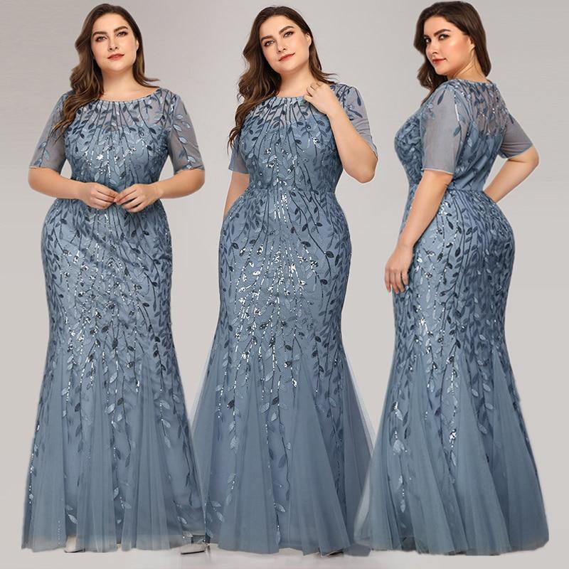 Queen Abby Вечерние платья Русалка с блестками Кружева Аппликации Элегантное Длинное платье русалки платье вечерние платья размера плюс - Цвет: Blue1