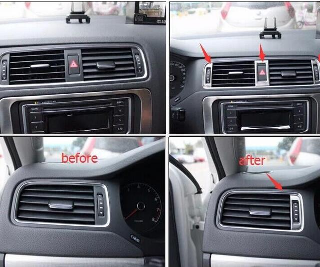 Car Styling For Volkswagen Jetta MK6 2012 - 2014 Stainless Steel Air Outlet Adjust Button Frame Decoration Cover Trim 5pcs/set