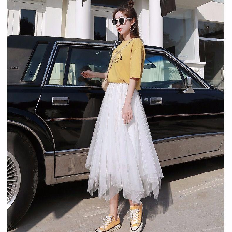 Mesh Skirts For Womens Skirt Lace Tulle Bouffant Puffy Skirt Fashion Tutu Skirts Spring Summer Elastic Skirt Black Pink