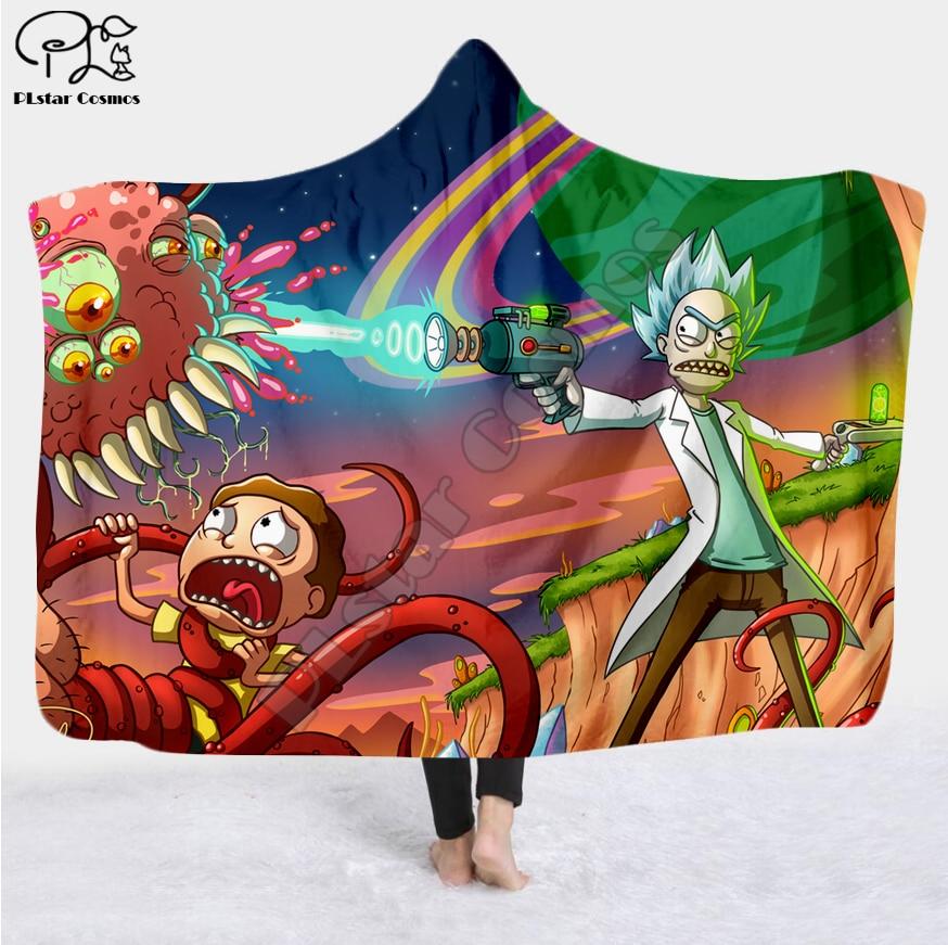Image 4 - Cartoon Paintings Rick And Morty Blanket Hooded Blanket 3D full  print Wearable Blanket Adults men women Blanket style 10Blankets   -