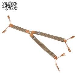 Tirantes ajustables a rayas de cuero genuino con espalda en Y Vintage para hombre Bronson
