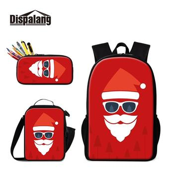 Fashion Christmas Print 3 Pieces in 1 Set Backpack and Lunch Pouch with Pencil Box 3 pcs/set Black Girls Kids School Bags