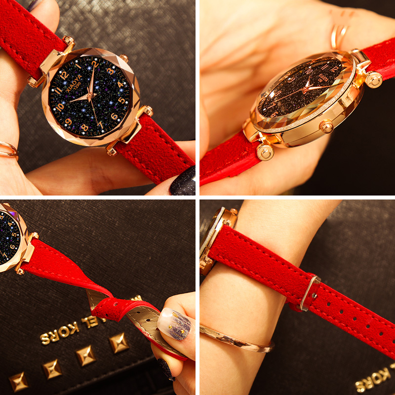 Fashion Women Watches Star Sky Dial Clock Luxury Rose Gold Women's Bracelet Quartz Wrist Watches Beautiful Casual Flash Luminous