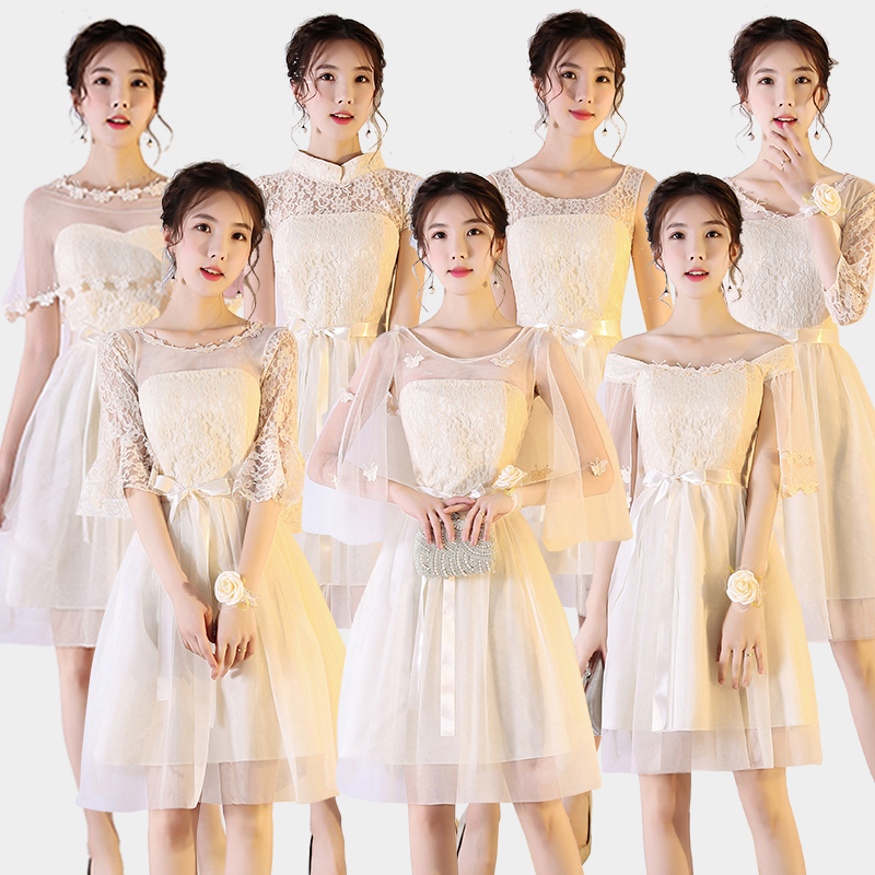 Half Sleeve Bridesmaid Dresses Wedding Guest Elegant Princess Tulle A-Line Short Party Dress Sister Champagne Sexy Prom Vestido