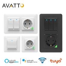 Настенный выключатель AVATTO Tuya, Wi Fi светильник с настенным гнездом, управление через приложение Smart Life, умный настенный выключатель, 1/2/3 Gang, работает с Alexa,Google Home