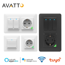 AVATTO Tuya Wifi Light Switch with wall socket, Smart Life APP Control, Smart Wall Switch 1/2/3 Gang Work with Alexa,Google Home