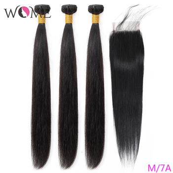 WOME Straight Hair Bundles With Closure Brazilian Human Hair Bundles With Closure Natural Color Non-remy Hair With Closure