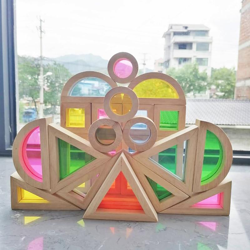 Kinder Montessori Holz Spielzeug Sensorischen Regenbogen Blöcke Feste Gummi Holz Stapeln Acryl Buliding Blöcke Kreative Pädagogisches Spielzeug