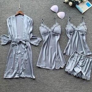 Image 5 - Yaz 2019 kadın Pijama setleri 4 adet Pijama kadın seksi dantel saten Pijama zarif ipek Pijama göğüs yastıkları ile kıyafeti
