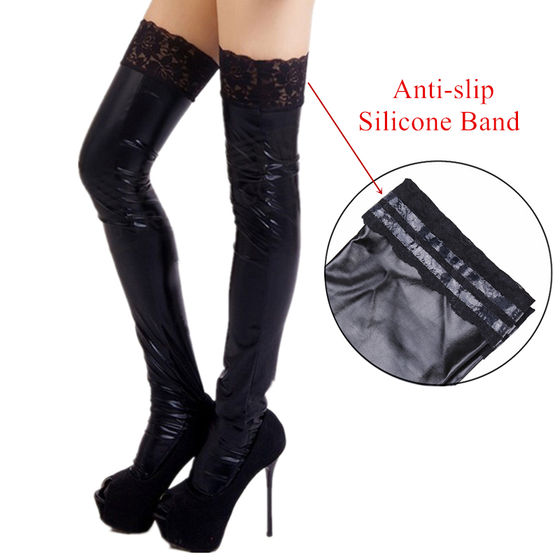 S - XXL High Quality Boots Silicone Stay Up Leather Stockings Sexy Black Lace Top Latex Stockings Pole Dance Clubwear