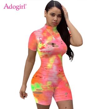Adogirl Tie Dye Print Jumpsuit Hollow Out Mock Neck Short Sleeve Fashion Casual Playsuits Women Shorts Romper Tracksuit mock neck tie open back flare leg jumpsuit