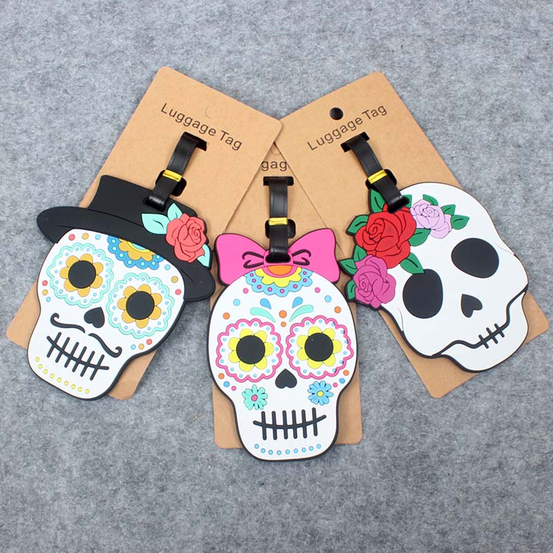 Newest Creative Skull Travel Accessories Luggage Tag Silica Gel Suitcase ID Addres Holder Baggage Boarding Tags Portable Label