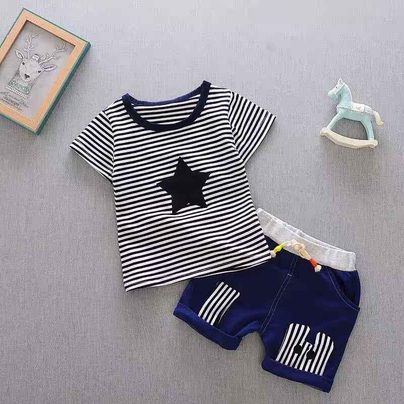 Mùa hè cho bé trai bé gái quần áo Áo Thun Áo Quần phù hợp với áo Bộ sơ sinh bé gái quần áo bé trai trang phục bộ trẻ sơ sinh vải