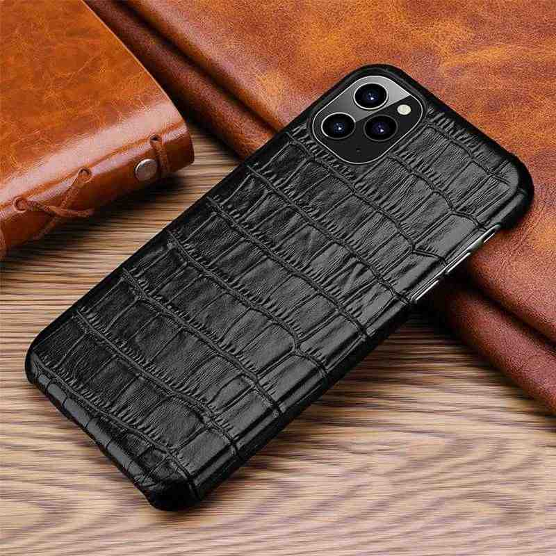 Caso de couro genuíno para o iphone 11 pro max 11pro se 2020 caso luxo alligator telefone capa para iphone 7 8 plus x xr xs max