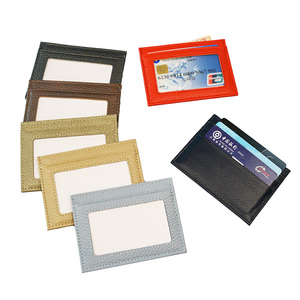 100% Genuine Cow Leather ID Card Holder Candy Color Bank Credit Card Multi Slot Slim Card Case with One Side Window
