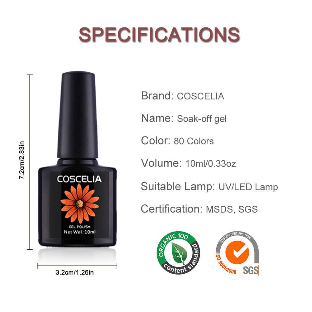 COSCELIA 80 สี 10ml เจลเล็บกึ่งถาวรสีเทา Soak Off UV LED TOP BASE Coat เล็บเจลเคลือบเงาเล็บสำหรับเล็บ Art