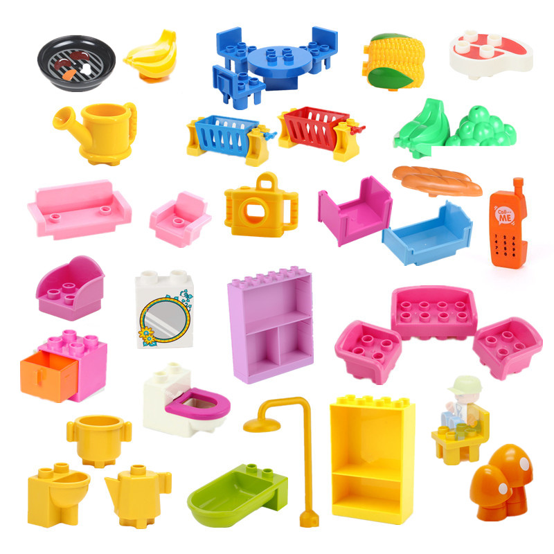 Girls Bedroom Building Blocks Parts DIY Toys Bed Sofa Toilet Phone Bathtub Meat Corn Camera Accessories Compatible With Duploes