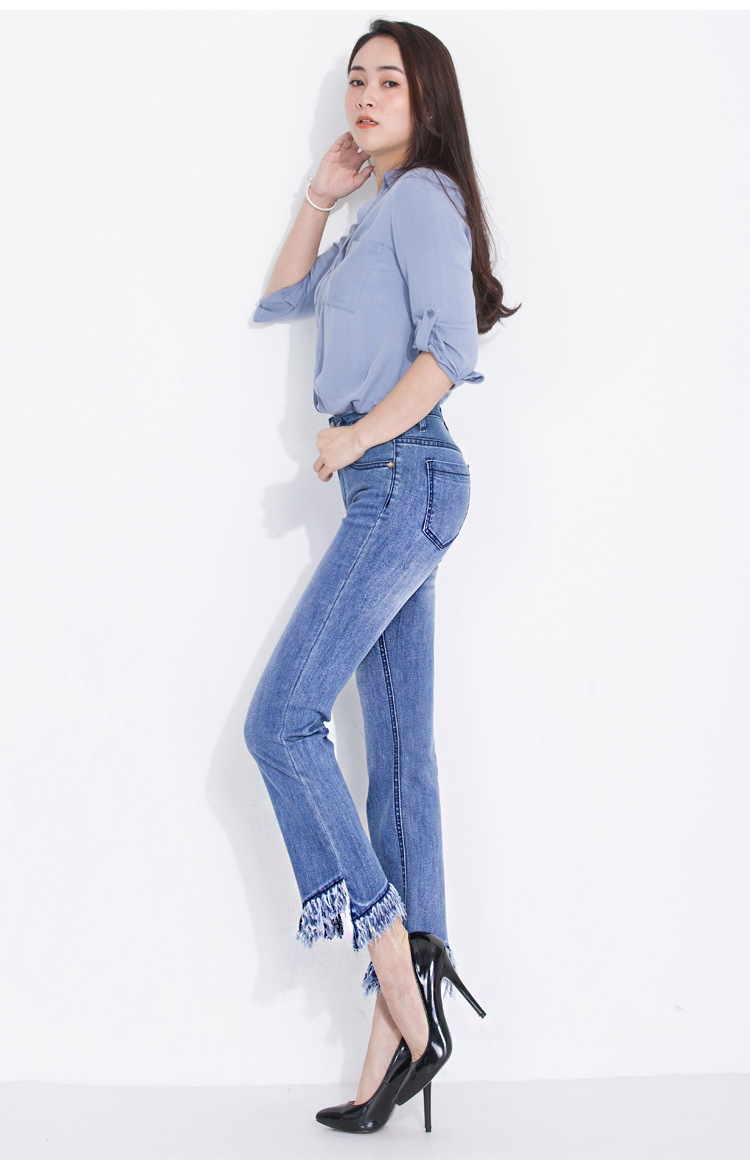 KSTUN FERZIGE jeans woman high waist jeans stretch blue spring and summer ankle length pants tassels flares women's clothing 13