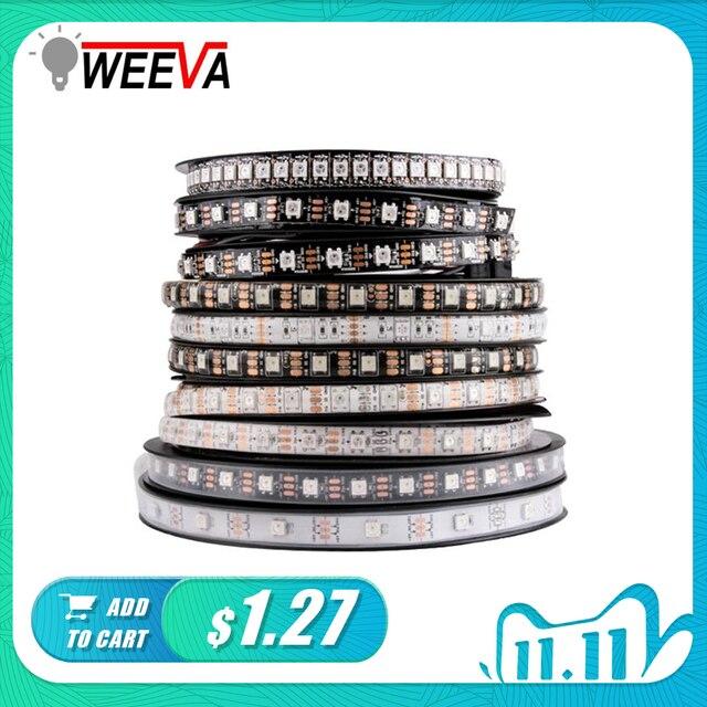 WS2812B DC 5V LED قطاع RGB 50 سنتيمتر 1M 2M 3M 4M 5M 30/60/144 المصابيح الذكية عنونة بكسل الأسود الأبيض PCB WS2812 IC 17Key بار