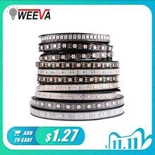 WS2812B DC 5V LED רצועת RGB 50CM 1M 2M 3M 4M 5M 30/60/144 נוריות חכם מיעון פיקסל שחור לבן PCB WS2812 IC 17Key בר