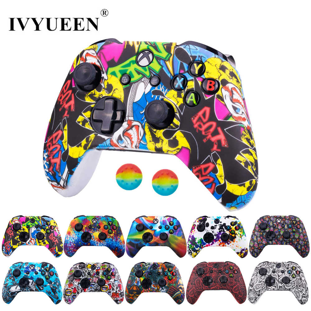 Ivyueen Silicone Beschermende Huid Case Voor Xbox One X S Controller Protector Water Transfer Printing Camouflage Cover Grips Caps
