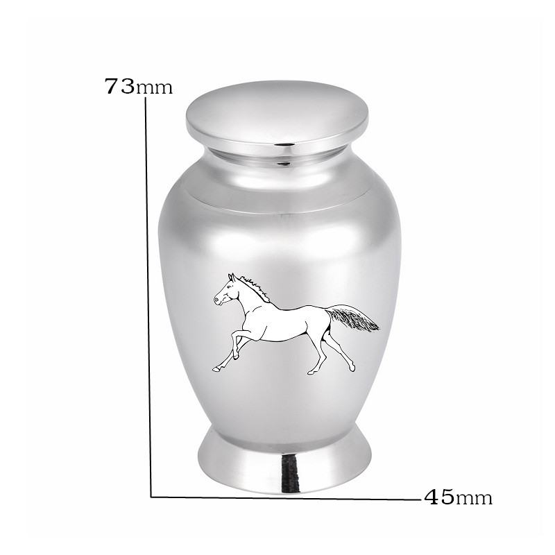 LHP116 Polished Stainless Steel Horse Cremation Keepsake Urn for Ashes Custom Engrave Pet Horse Funeral Memorial Ashes Casket