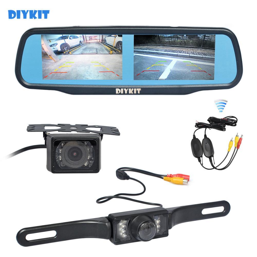 DIYKIT беспроводной двойной 4,3 экран зеркало заднего вида автомобиля монитор + Водонепроницаемая Автомобильная камера заднего вида