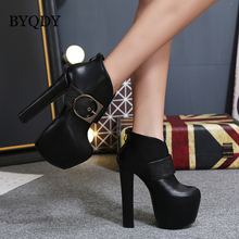 BYQDY New Thick High Heels Shoes Buckle Strap Zipper Short Boots Women Booties Platform Autumn Winter Black Ladies Motorcycle