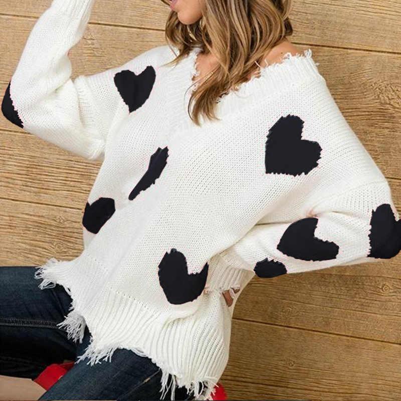 Jersey de punto de mujer con estampado de Kake Kasin cuello en V corto de invierno 2019 Jersey suelto Casual para mujer ropa de calle