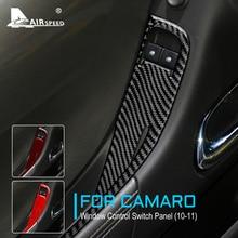 AIRSPEED Real Carbon Fiber for Chevrolet Camaro 2010 2011 Accessories Interior Trim Car Door Window Control Switch Panel Sticker