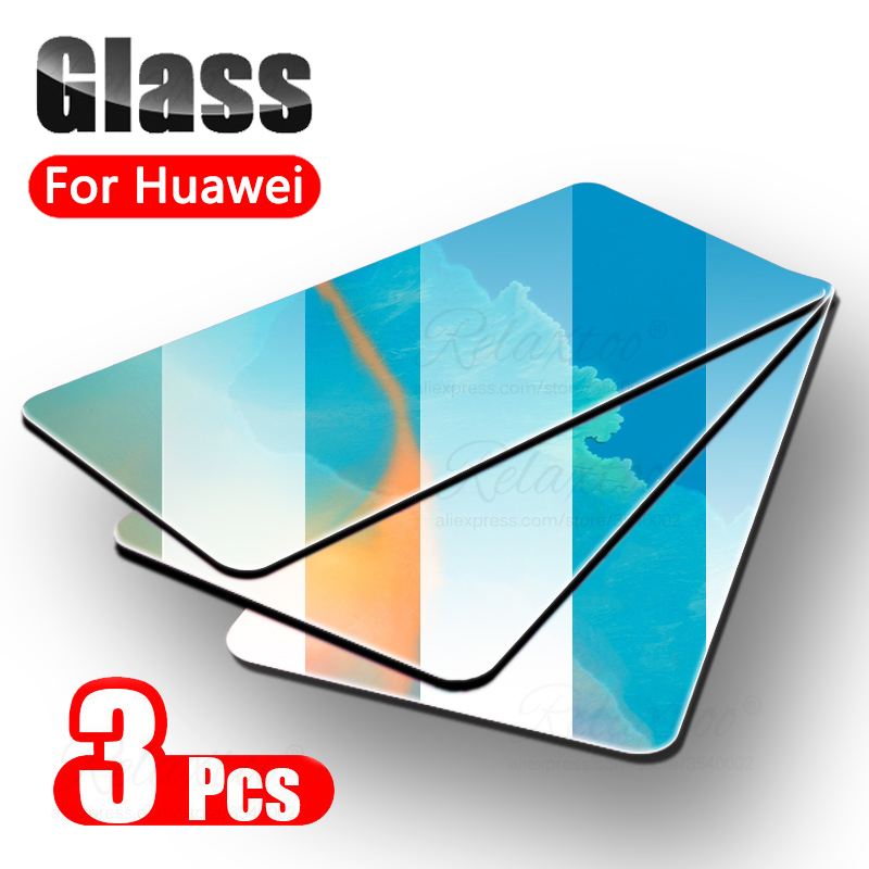 3PCS 9H Tempered Glass For Huawei P20 P30 Lite Pro Screen Protector On Huawey Mate 20 30 Lite P30lite Protective Film Full Glas
