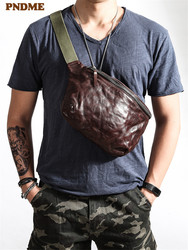 PNDME vintage high quality soft genuine leather men's chest bag fashion casual cowhide waist packs messenger bags teens belt bag