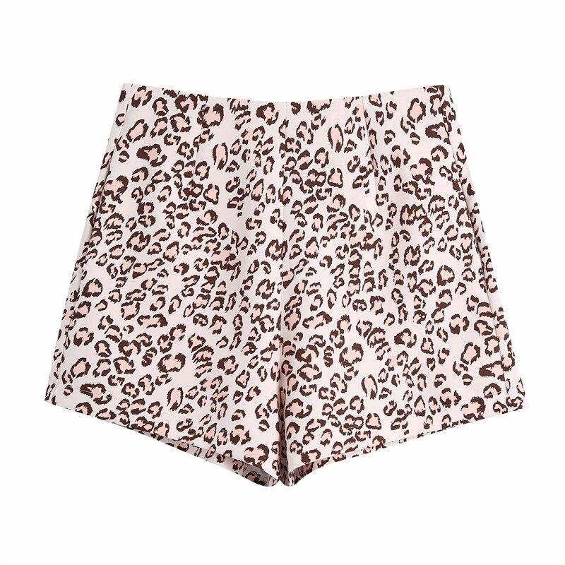 Evfer Chic dame nouveau printemps Vintage imprimé léopard taille haute Shorts femmes décontracté dos fermeture éclair Animal imprimé costume pantalon court