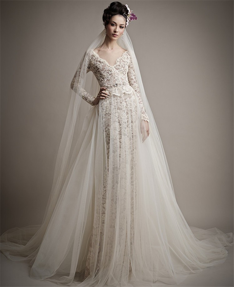 Vestido De Noiva 2015 Lace Long Sleeve Wedding Dress Vintage Backless Mermaid Wedding Gown With Train Robe De Mariage