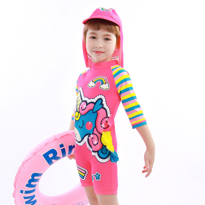 Girl'S One-piece Swimming Suit 1-8-Year-Old CHILDREN'S Swimwear Cartoon Long Sleeve New Style KID'S Swimwear Blisters Aberdeen