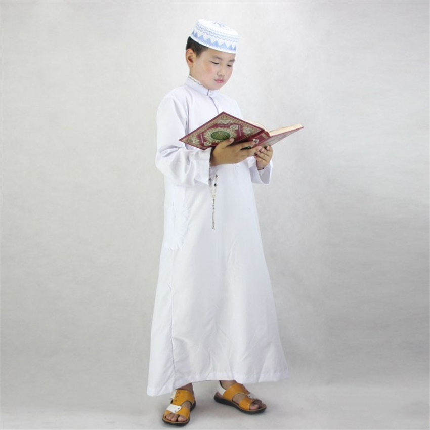 Boys Islamic Clothing For Kids Muslim Abaya Arab Dubai Turkey Malaysia Round Neck Prayer Islam Robes For Toddler Boy Thobe