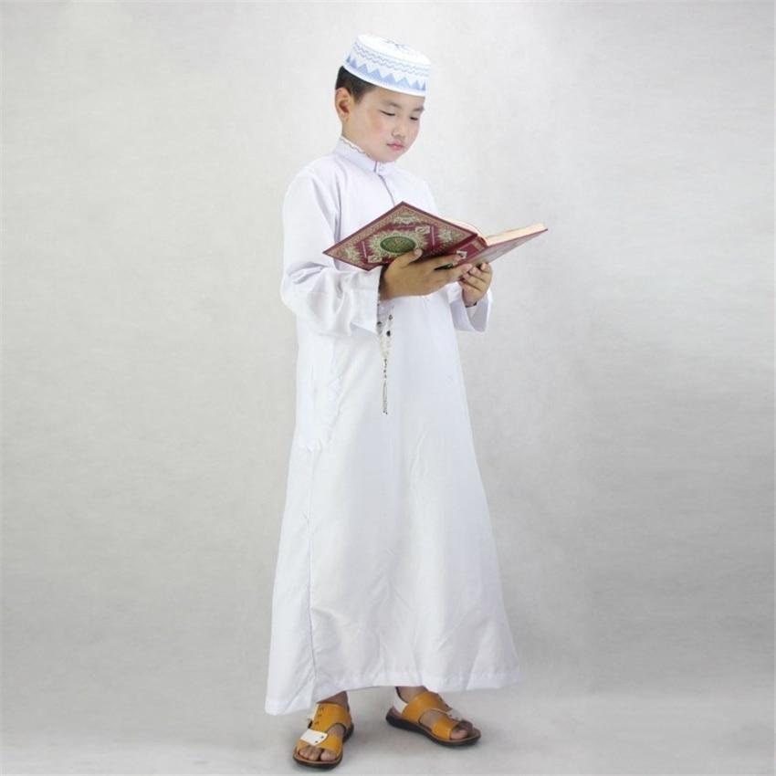 Boys Islamic Clothing For Kids Muslim Abaya Arab Dubai Turkey Malaysia Round Neck Prayer Islam Robes For Toddler Boy Thobe