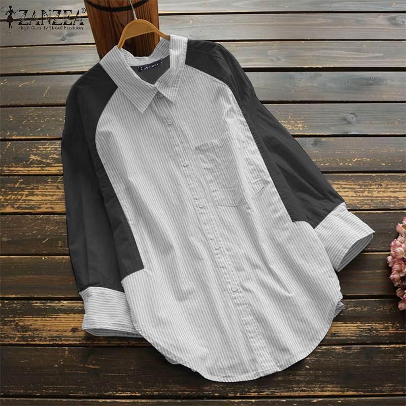 ZANZEA Women Buttons Down Casual Long Shirt Tops Loose Lapel Patchwork Blouse