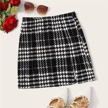 ROMWE клетчатая текстурированная мини-юбка женская осень одежда средняя талия черная юбка белая юбка трапециевидной формы с разрезом подол Корейская юбка