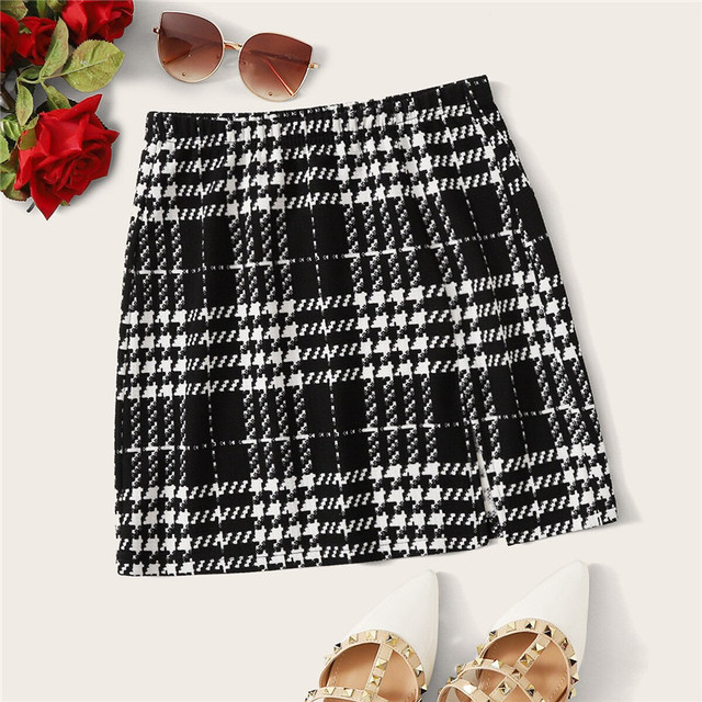 ROMWE Plaid Textured Mini Skirts Womens Spring Fall 2019 Clothes Mid Waist Black Skirt White Skirt A Line Split Hem Korean Skirt 1