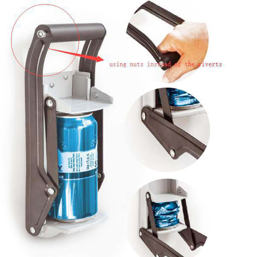 16oz 500ml Large Can Recycling Machine Jar Crusher Wall-mounted Press Beer Bottle Bar Opener