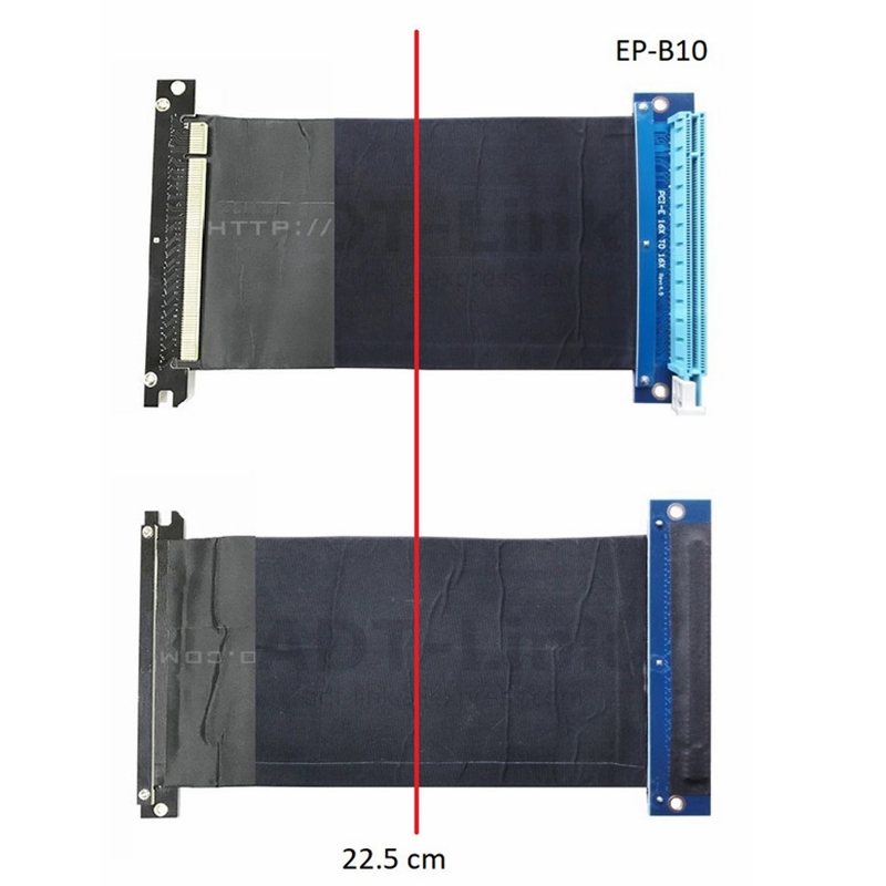 Right Angle PCI-Express PCIe3.0 16x To 16x Flexible Riser Cable For GTX1080TI Firepro W7100 / Radeon RX580 / VEGA64 / Pro Wx5100