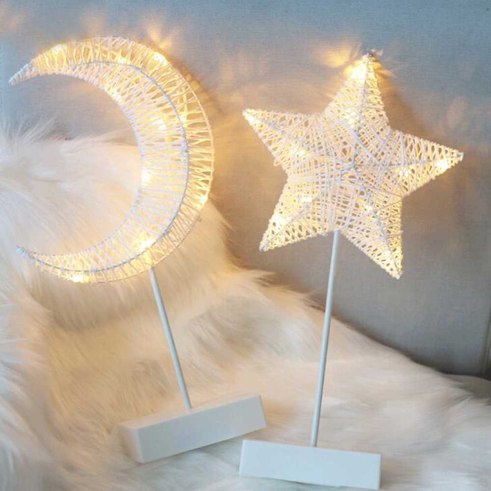 LED Rattan Night Light Stars Love Heart Christmas Tree Table Lamp Girl Room Decoration Night Light Table Light Warm White