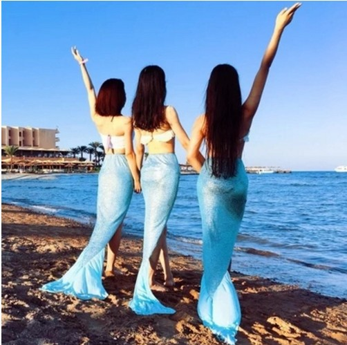Maldives Bali Holiday Long Skirts Mermaid Tail Slit Longuette Beach Seaside Photo Shoot-