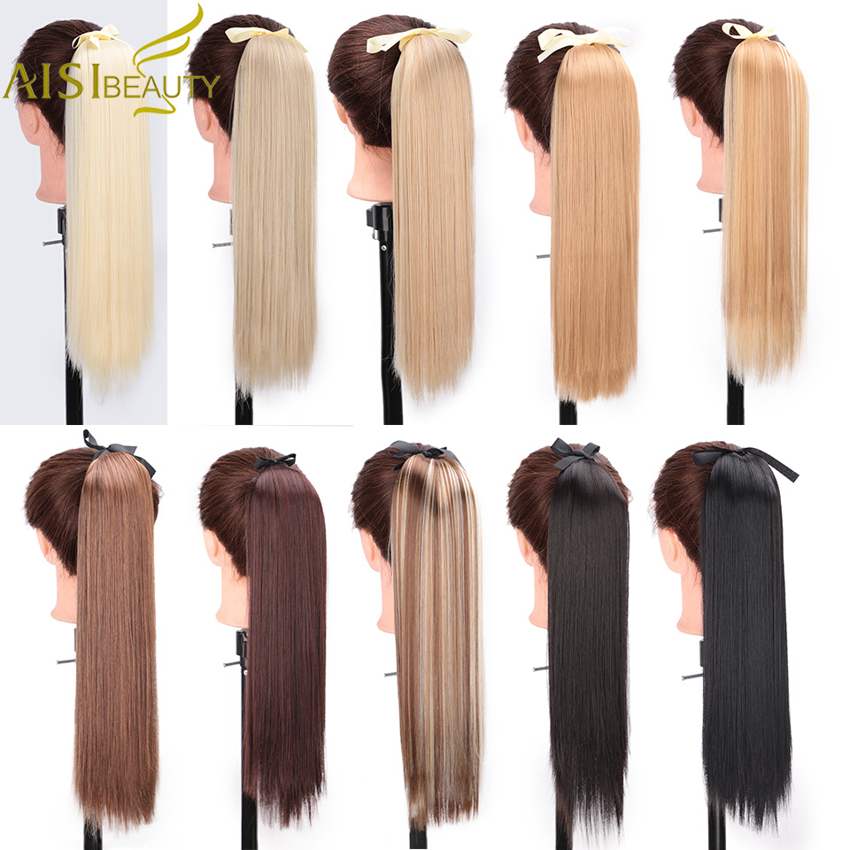 AISI BEAUTY Long Silky Straight Synthetic Clip In Drawstring Ponytail Hairpieces For Women Hair Extension Fake Hair Blonde