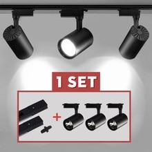 Conjunto de luz de pista Led de pista de mazorca lámpara 12/20/30/40W carril foco Led de iluminación Fijación de foco para tienda de ropa tienda casa 220V