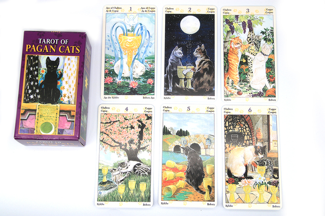 Tarot of Pagan Cats Cards 78 Full-Color Cards Mini Deck Five Languages English Spanish Tarot Divination Beginner Toy Game 6